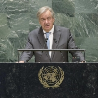 United Nations Secretary-General Antonio Guterres speaks during the 75th session of the United Nations General Assembly on Sept. 22 at U.N. headquarters in New York. | KYODO