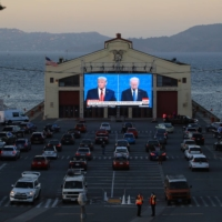 A drive-up presidential debate watch party at Fort Mason in San Francisco | JIM WILSON / THE NEW YORK TIMES