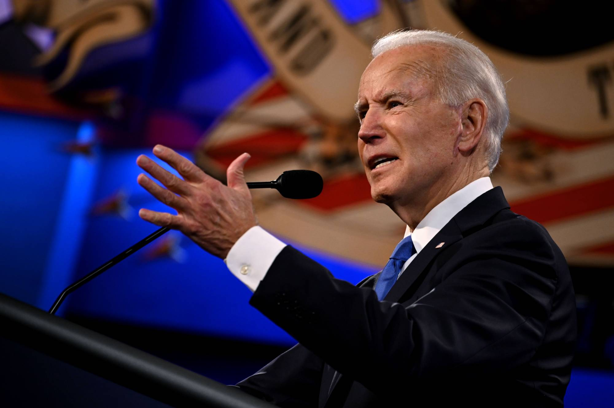 Democratic Presidential candidate and former U.S. Vice President Joe Biden speaks during the final presidential debate at Belmont University in Nashville, Tennessee, on Thursday. | AFP-JIJI
