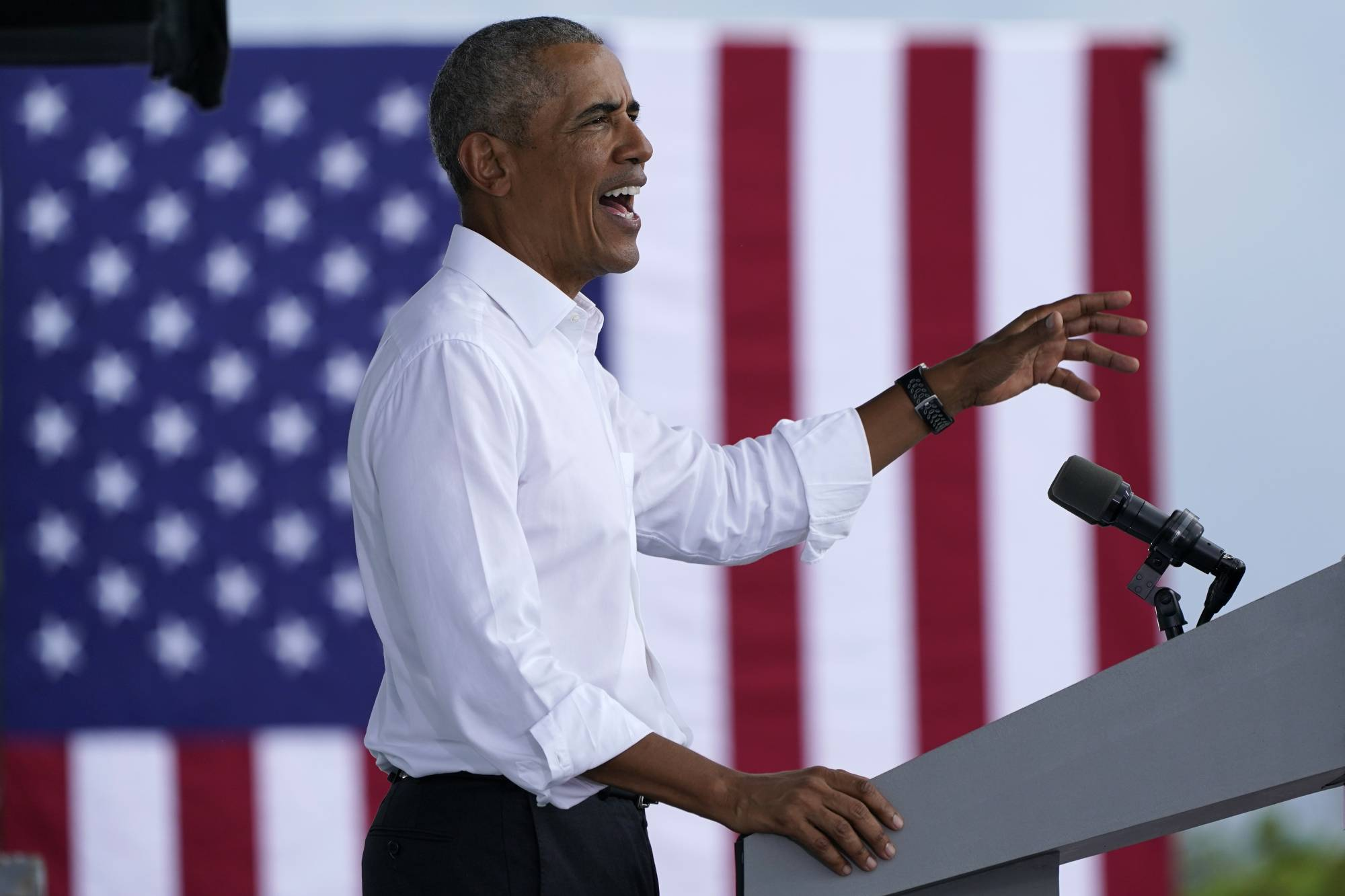 Former U.S. President Barack Obama speaks in support of Democratic presidential candidate Joe Biden at Florida International University in North Miami on Saturday.  | AP