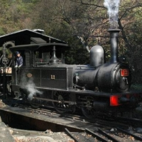 The No. 12 steam locomotive at Meiji-Mura was imported to Japan from the U.K. in 1874. | KYODO