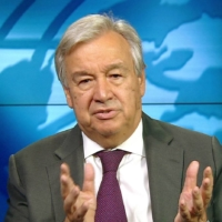 U.N. Secretary General Antonio Guterres said he is 'very encouraged' by Prime Minister Yoshihide Suga's pledge to cut greenhouse gas emissions in Japan to net zero by 2050. | U.N. / VIA KYODO