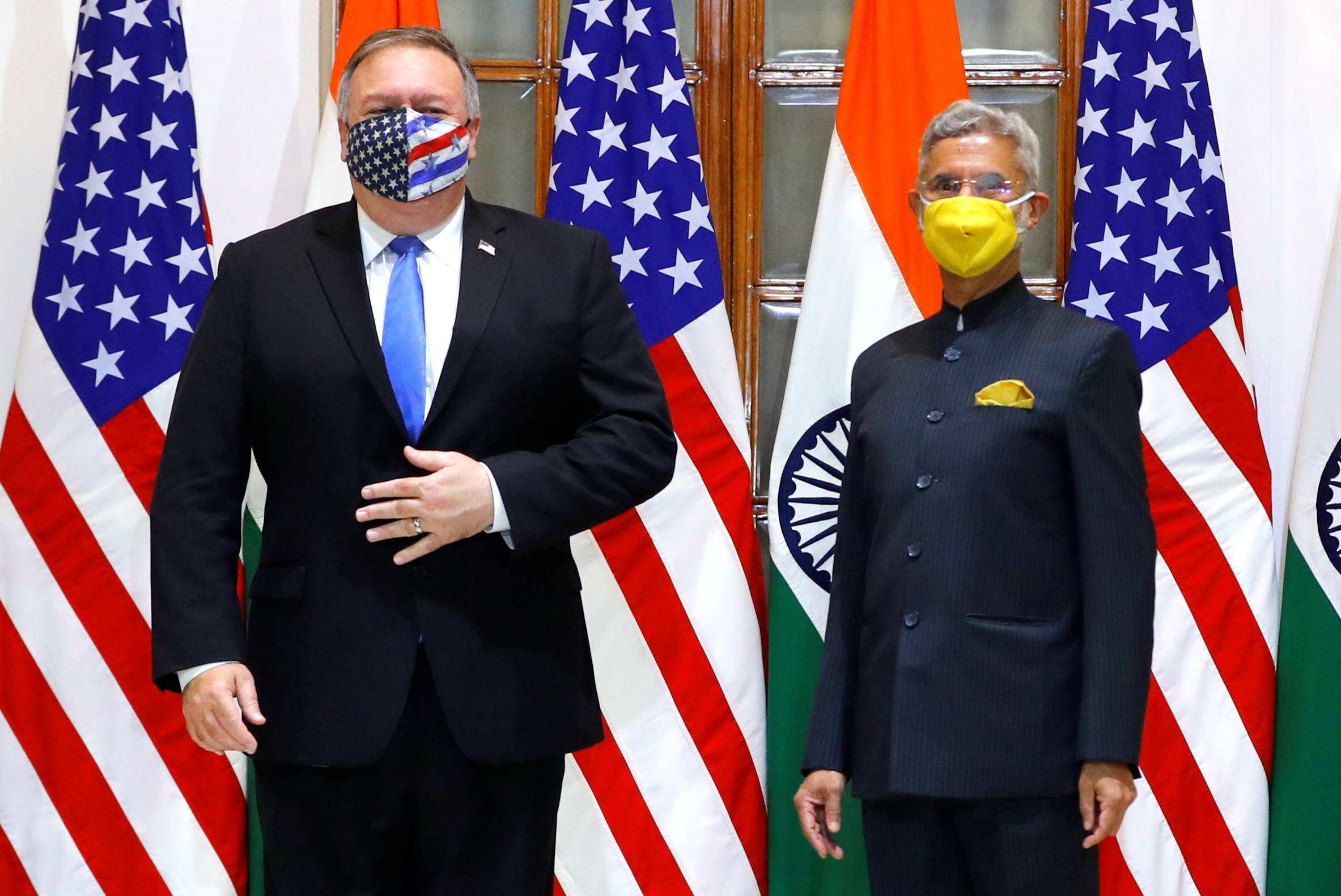 U.S. Secretary of State Mike Pompeo and Indian Foreign Minister Subrahmanyam Jaishankar in New Delhi on Monday   POOL / VIA REUTERS