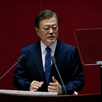 South Korean President Moon Jae-in speaks at the National Assembly in Seoul on Wednesday. | POOL VIA / REUTERS