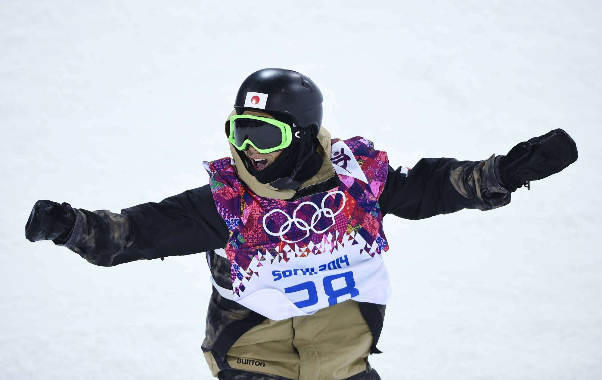 Taku Hiraoka competes during the men's snowboard halfpipe final at the 2014 Sochi Olympics . | REUTERS