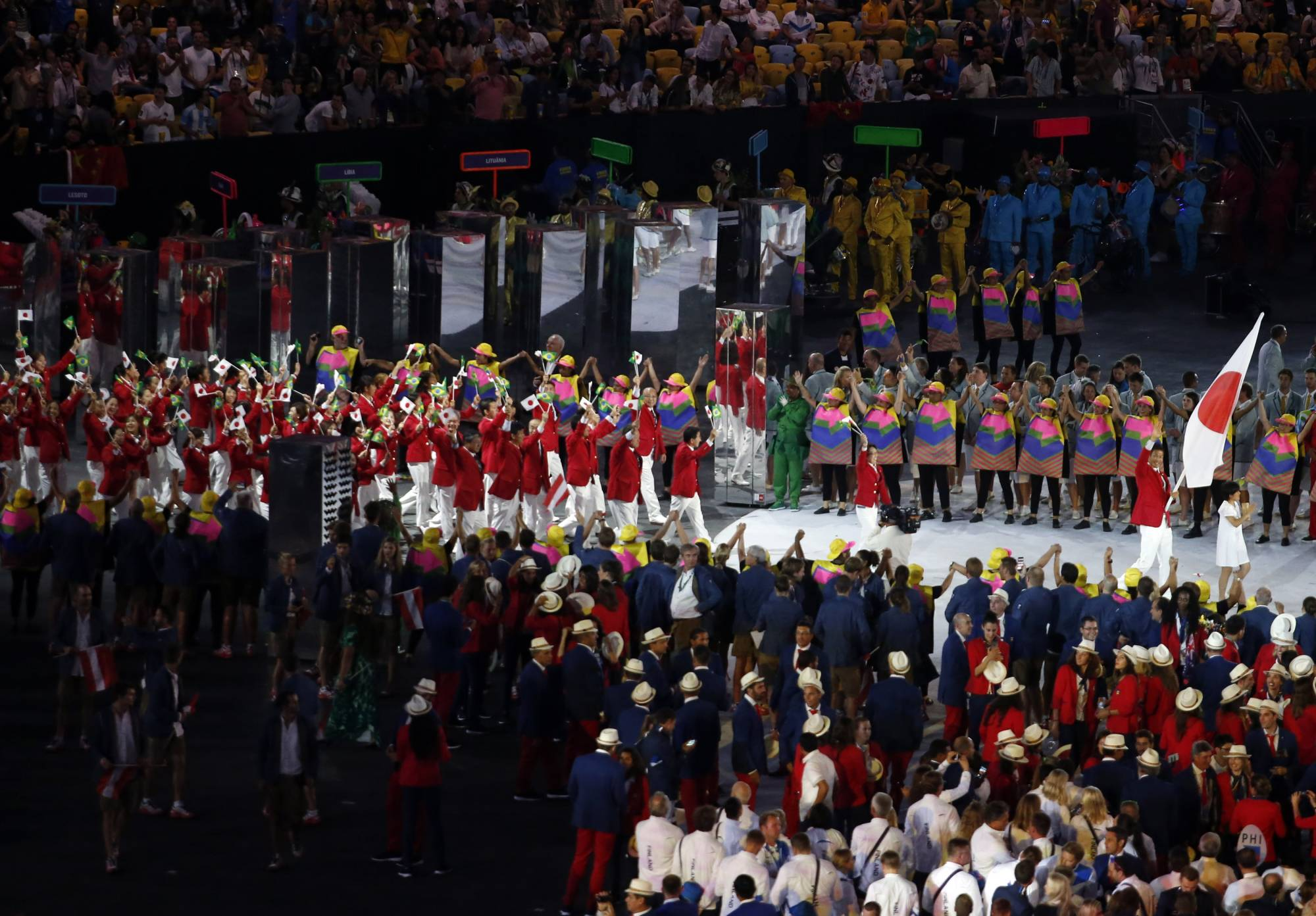 Athletes from Japan parade during the opening ceremony of the 2016 Rio Olympics on Aug. 5, 2016, in Rio de Janeiro. | REUTERS