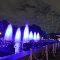 A fountain is illuminated in blue during a light-up event at Ueno Zoo in Tokyo on Friday. | KYODO