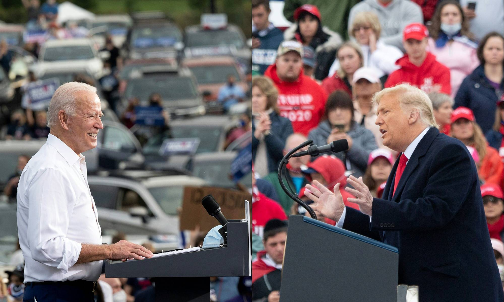 Left: Democratic U.S. presidential candidate Joe Biden speaks during a voter mobilization event in Atlanta on Tuesday. Right: U.S. President Donald Trump holds a campaign rally in Lititz, Pennsylvania, on Monday. | AFP-JIJI