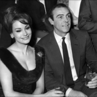 Scottish actor Sean Conner and his partner, Claudine Auger, answer journalists' questions in Paris in February 1965.  | AFP-JIJI