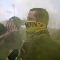 Proud Boys members gather for a rally in Portland, Oregon, in September.  | REUTERS