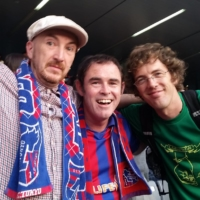 Ben Maxwell (center) poses with 'J-Talk' guests Graham Mackenzie (left) and Richy Palmer at a May 2015 J. League game. | COURTESY OF BEN MAXWELL