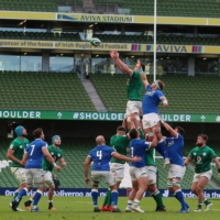 Ireland and Italy play a Six Nations match in an empty Aviva Stadium on Oct. 24 in Dublin. | POOL / VIA AFP-JIJI