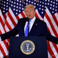 U.S. President Donald Trump speaks about early results from the 2020 U.S. presidential election in the East Room of the White House in Washington on Wednesday.   REUTERS