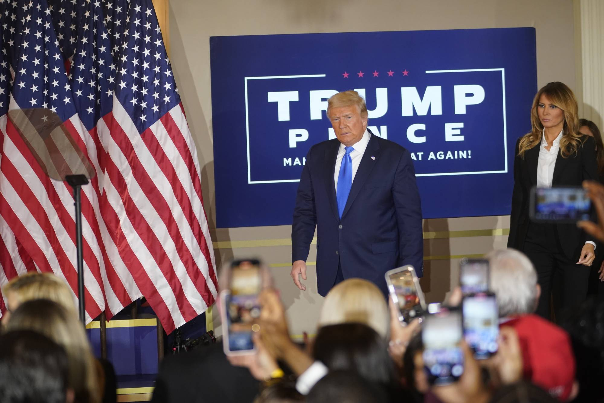 U.S. President Donald Trump makes remarks at the White House early on Wednesday. Social platforms added labels to misleading posts by Trump and notified their users that there was no immediate outcome to the presidential race.   DOUG MILLS/THE NEW YORK TIMES