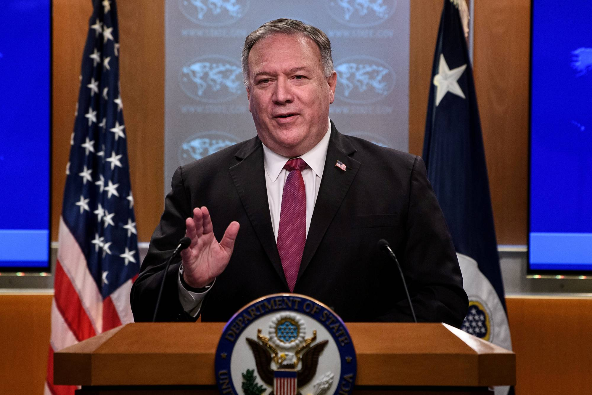 U.S. Secretary of State Mike Pompeo, seen on Oct. 21, outlined in a September statement that the U.S. will tighten restrictions on Chinese diplomats in the country under the principle of reciprocity. | POOL / VIA REUTERS