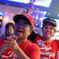 Supporters of U.S. President Donald Trump gather for an election watch party in Houston on Nov. 3.  | REUTERS
