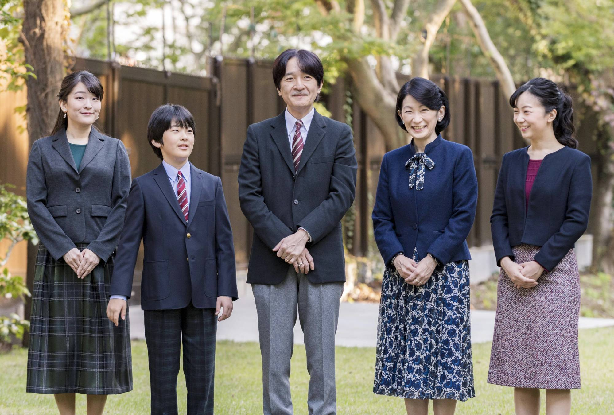 Crown Prince Akishino (center) is seen with his family in a photo taken in November last year at their residence in Tokyo's Akasaka district. | IMPERIAL HOUSEHOLD AGENCY / VIA KYODO