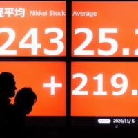 Japan's benchmark Nikkei stock average hit a 29-year high on Friday, but the government is concerned that any sharp rise in the yen's value against the dollar will deal a serious blow to the Japanese economy. | KYODO