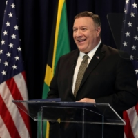 U.S. Secretary of State Mike Pompeo addresses members of the private sector in Kingston, Jamaica, on Jan. 22. | REUTERS