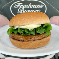 Good choices: Freshness Burgers' plant-based Good Burger is made with a soybean patty in lieu of meat. | KYODO