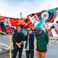 Japanese mural artists (from left) Fate, Suiko and Imaone took part in the inaugural London Mural Festival in September, painting a wall in the city's Peckham area.   YUTA NAOUMI / COURTESY OF THA