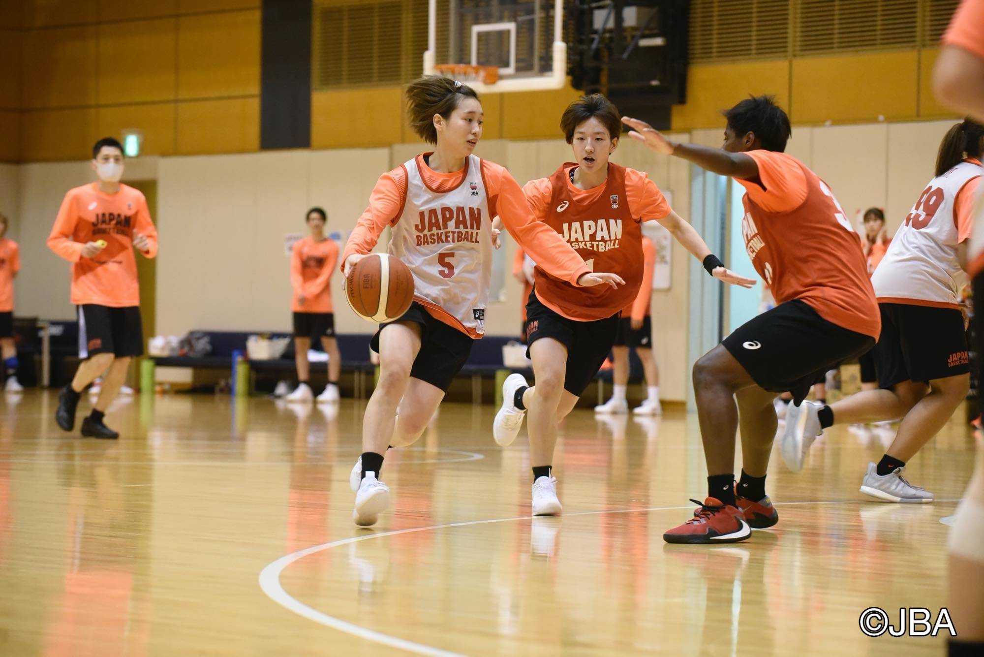 Guard Saori Miyazaki dribbles the ball during a Japan women's team training camp at Tokyo's National Training Center on Monday. | COURTESY OF THE JAPAN BASKETBALL ASSOCIATION