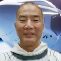 Astronaut Soichi Noguchi speaks at an online news conference organized by the Japan Aerospace Exploration Agency. | KYODO