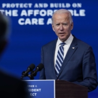 Joe Biden speaks to reporter's in Wilmington, Delaware, on Tuesday. What will a Biden presidency mean to Tokyo, Beijing and Seoul? | AP