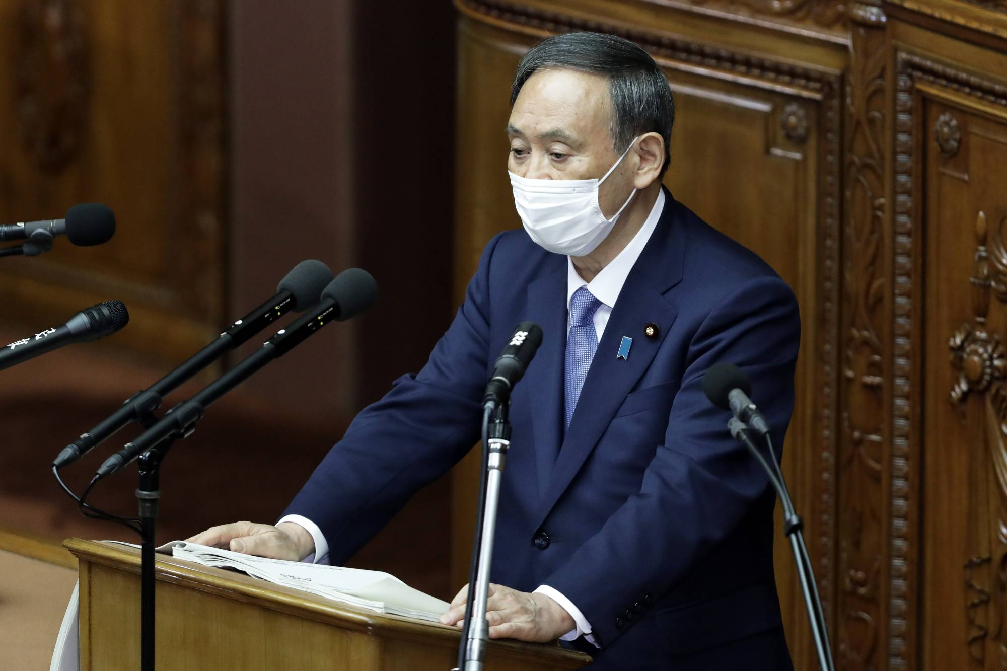 Prime Minister Yoshihide Suga told the Council on Economic and Fiscal Policy on Oct. 6 that it would serve as his administration's 'command center' for economic policy. | BLOOMBERG
