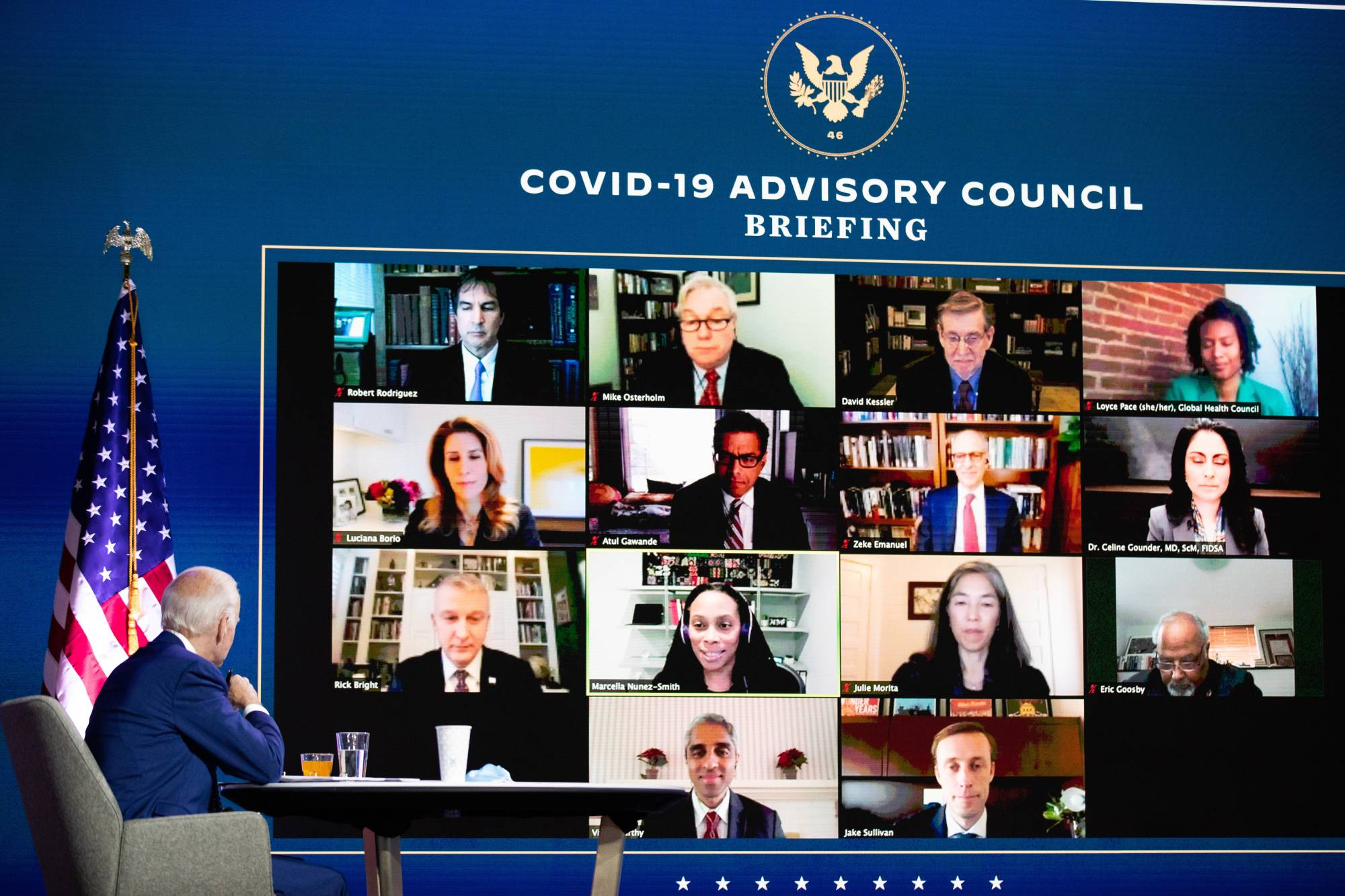 President-elect Joe Biden meets with his COVID-19 Advisor Council via teleconference at The Queen theater in Wilmington, Delaware, on Monday. | AMR ALFIKY / THE NEW YORK TIMES