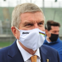 IOC President Thomas Bach attends the UCI Road World Championships in Imola, Italy, on Sept. 27, 2020. | REUTERS