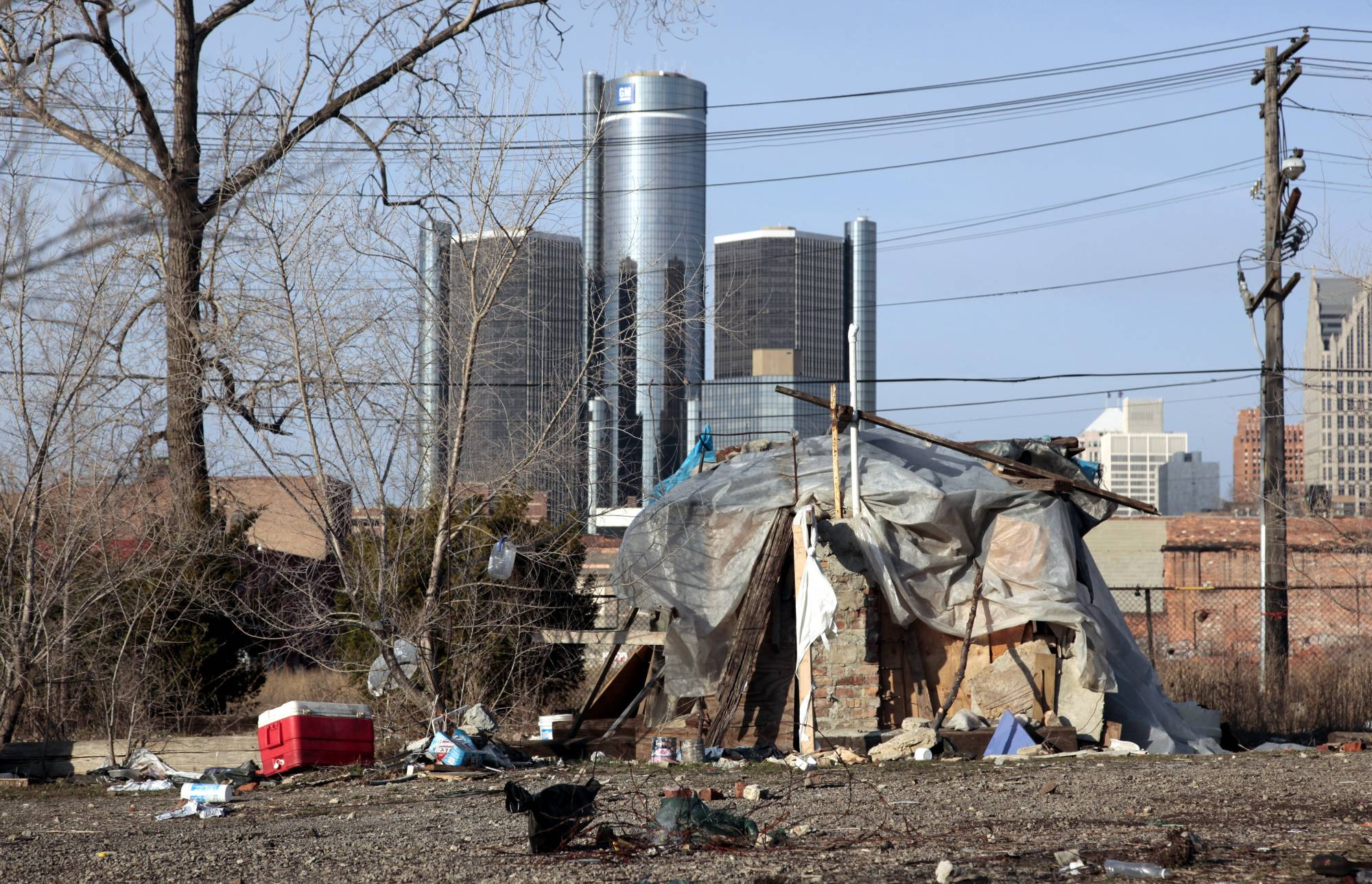 A makeshift homeless person's structure in Detroit, Michigan. America has more than two times more very wealthy people than Japan, but it also has more than five times more poor people. |  REUTERS