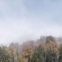 Light dusting: The town of Nakatsugawa, Yamagata Prefecture, gets ready for winter with some snow.  |