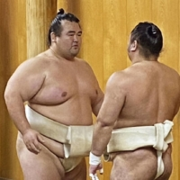 Kotoshogiku (left) is planning to retire according to sources inside the Japan Sumo Association. | JAPAN SUMO ASSOCIATION / VIA KYODO