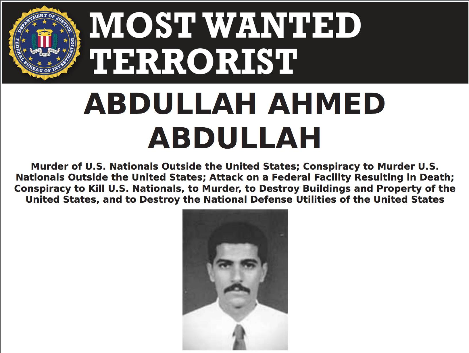 The FBI wanted poster for Abdullah Ahmed Abdullah, the second-highest official in al-Qaida, who went by the nom de guerre Abu Muhammad al-Masri. He was killed in Iran three months ago, intelligence officials from multiple countries have confirmed.  | FEDERAL BUREAU OF INVESTIGATION / VIA THE NEW YORK TIMES