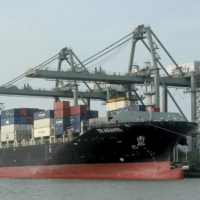 Containers are loaded on a ship at the Saigon port in Ho Chi Minh City. Japan and 14 other Asia-Pacific countries have agreed to set up the world's largest trading bloc, with the deal to be signed on Sunday. | AP