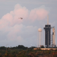 The SpaceX Falcon 9 rocket at dusk on Sunday | AFP-JIJI