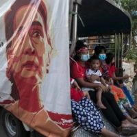 An image of Myanmar state counselor Aung San Suu Kyi is displayed on a truck on Nov. 10 as supporters celebrate her party's election win.  | AFP-JIJI