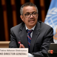 World Health Organization Director-General Tedros Adhanom Ghebreyesus holds a news conference in July.  | POOL / VIA REUTERS