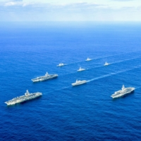 U.S. and Japanese naval forces hold a joint exercise in the Sea of Japan. | MARITIME SELF-DEFENSE FORCE / VIA KYODO