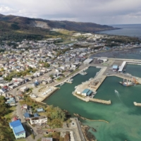 The town of Suttsu in Hokkaido is seen from above in October. First-stage surveys began Tuesday in the town and in the village of Kamoenai, also in Hokkaido, to see whether they would be able to host a final disposal facility for high-level radioactive waste. | KYODO