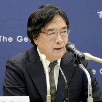 Yasushi Kudo, head of Genron NPO, speaks at a news conference in Tokyo on Tuesday. | KYODO
