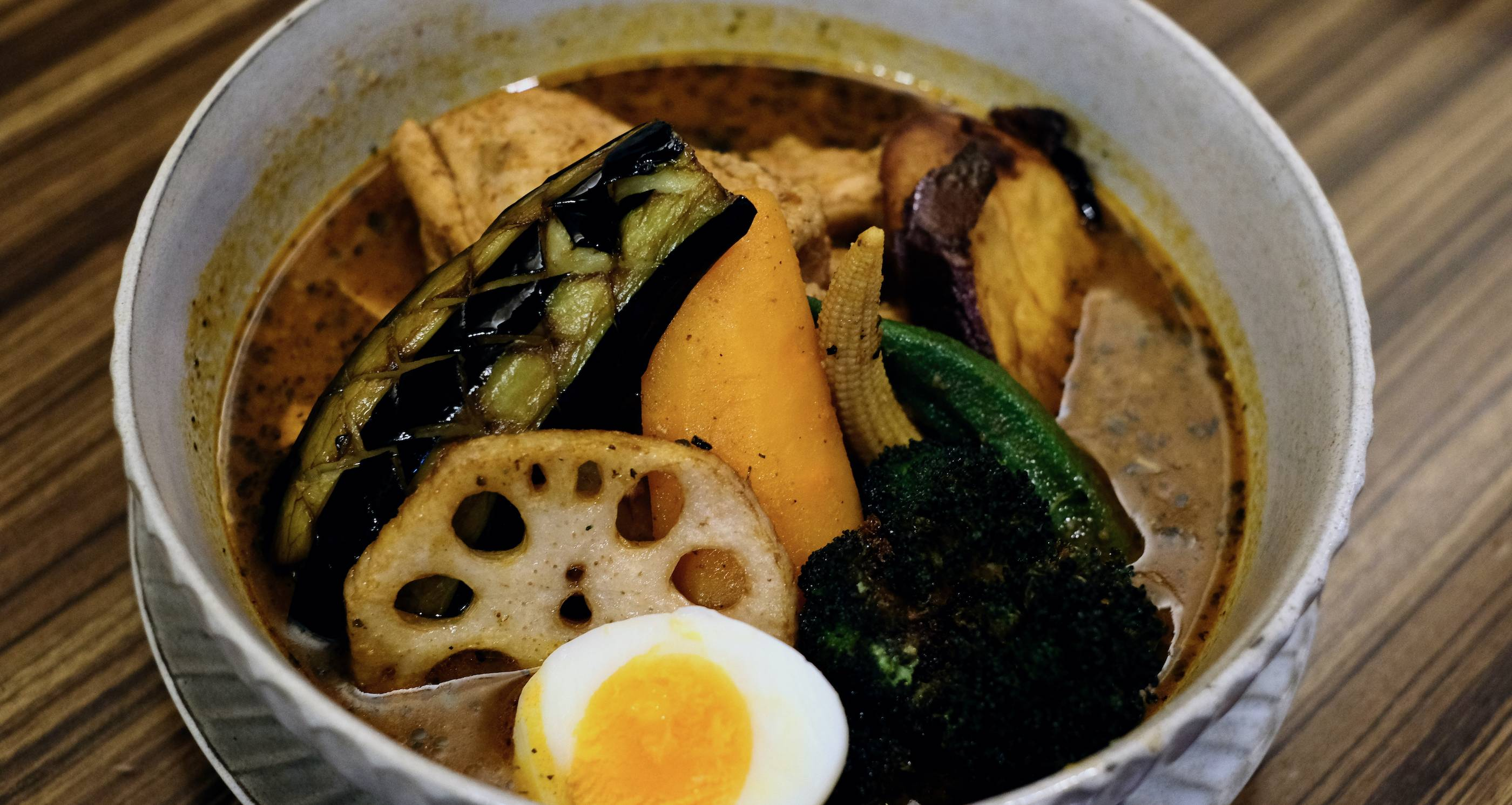 Oh, brother: Tokyo Rakkyo Brothers serves a solid soup curry with perfectly charred broccoli and sweet potato. | FLORENTYNA LEOW