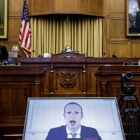 Mark Zuckerberg speaks via video conference during a hearing of the House Judiciary Subcommittee on Antitrust, Commercial and Administrative Law on 'Online Platforms and Market Power' in Washington on July 29. | REUTERS