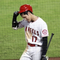 Ohtani endured a career-low stretch in August, going without a hit in 21 straight at-bats. | KYODO