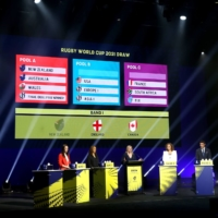 New Zealand Prime Minister Jacinda Ardern (left) takes part in the Rugby World Cup 2021 Draw event in Auckland on Friday. | AFP-JIJI