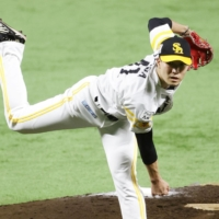 Hawks pitcher Kodai Senga won the pitching Triple Crown in the PL with a 11-6 record, 2.16 ERA and 149 strikeouts. | KYODO