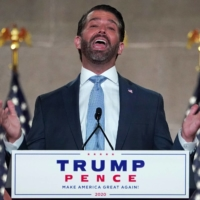 Donald Trump Jr. delivers a pre-recorded speech to the largely virtual 2020 Republican National Convention from Washington on Aug. 24. Trump Jr., tested positive for coronavirus infection earlier this week and is isolating. | REUTERS