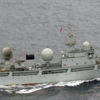 A Chinese naval ship sails in the territorial waters near Kuchinoerabu Island, some 70 km from the southern tip of the main island of Kyushu in the country's southwest, in June 2016. | DEFENSE MINISTRY / VIA KYODO