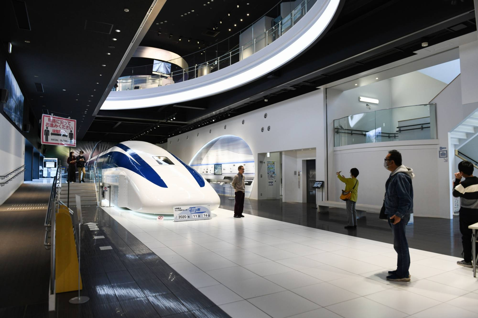 A maglev test vehicle is on display at an exhibition center in Yamanashi Prefecture. | BLOOMBERG